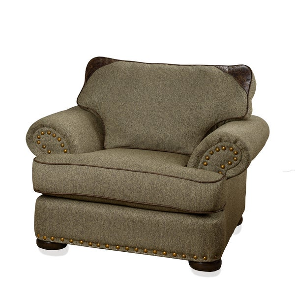 Somette Devon Patched Leather Tweed Beige Tan Fabric Chair with Rolled Arm