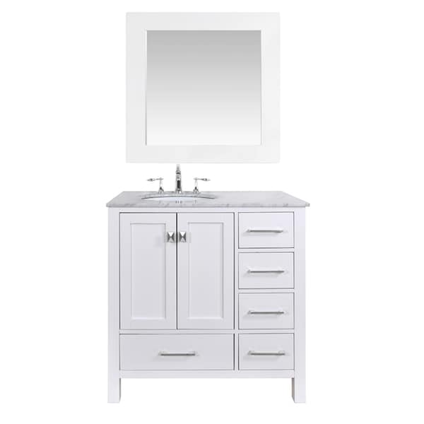 36-inch Malibu Pure White Single Sink Bathroom Vanity with ...