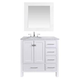 36-inch Malibu Pure White Single Sink Bathroom Vanity with 35-inch Mirror
