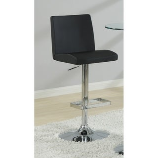 Contemporary Adjustable Black Vinyl Bar Stools (Set of 2)