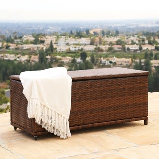 ABBYSON LIVING Palermo Outdoor Brown Wicker Storage Ottoman