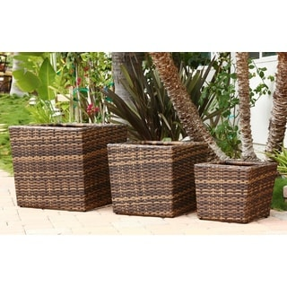 Abbyson Living Hampton Outdoor Dark Brown Wicker 3-piece Flowerpot Set
