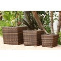review detail Abbyson Living Hampton Outdoor Dark Brown Wicker 3-piece Flowerpot Set