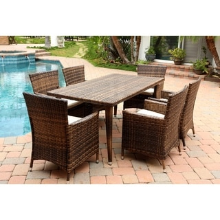 Abbyson Living Hampton Outdoor Multi Dark Brown Wicker 7-piece Dining Set