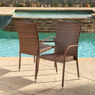 ABBYSON LIVING Palermo Outdoor Brown Wicker Dining Armchairs (Set of 2)