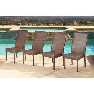 ABBYSON LIVING Palermo Outdoor Brown Wicker Dining Chairs (Set of 4)