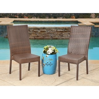 Abbyson Living Palermo Outdoor Brown Wicker Dining Chairs (Set of 2)
