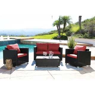 Abbyson Living Hampton Outdoor Black Wicker 4-piece Sofa Set