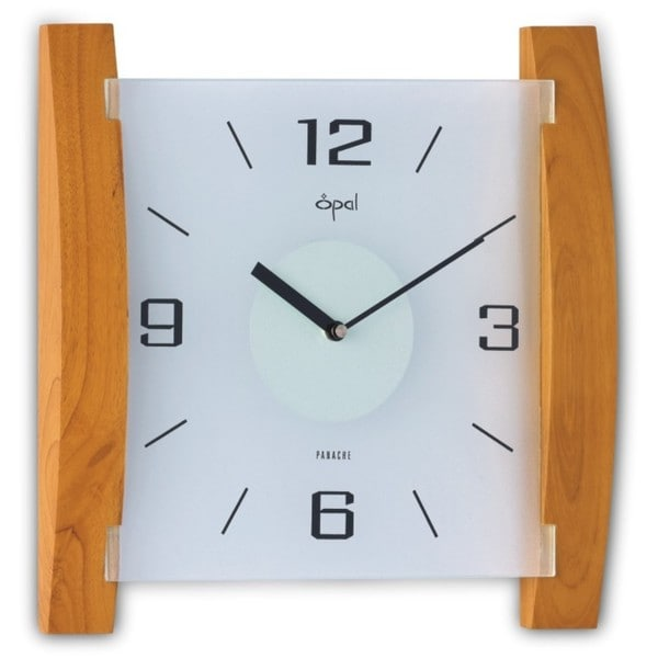 Opal Frosted Glass/ Light Brown Curved Wood Combination Clock