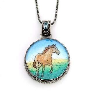 Micromosaic by Samuel B.Sterling Silver Multi-crushed Gemstone Horse Pendant Necklace