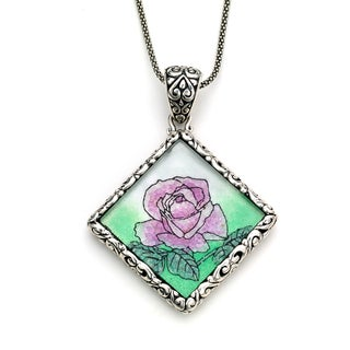Micromosaic by Samuel B. Sterling Silver Crushed Gemstone Rose Pendant Necklace