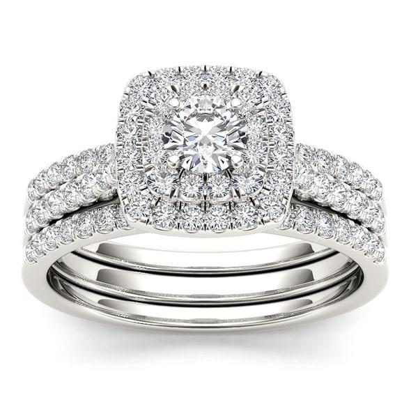 De Couer 10k White Gold 1ct TDW Diamond Cushion Shape Double Halo Trilogy Engagement Ring Set (H-I,I2)