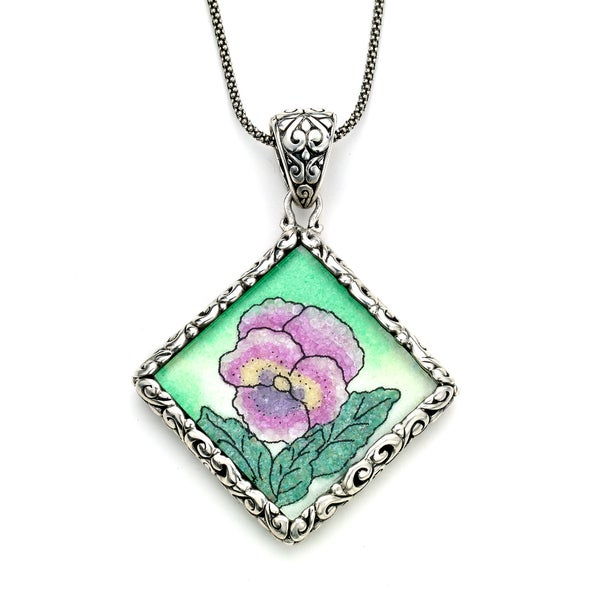 Micromosaic by Samuel B. Sterling Silver Crushed Multi-Gemstone Floral Pendant Necklace