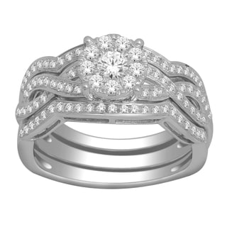 De Couer 10k White Gold 3/4ct TDW Diamond Composite Bridal Set (H-I, I2)