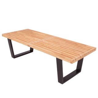 LeisureMod Somette Inwood Natural Wood 4-foot Bench