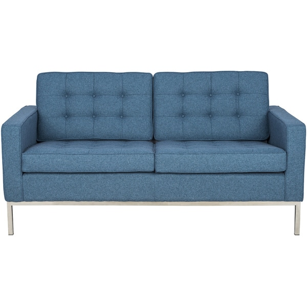 Somette Lorane Modern Chambray Blue Twill Wool Studio Sofa