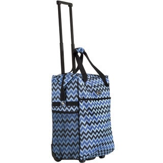 CalPak 'Big Eazy' Blue Chevron 20-inch Washable Rolling Shopping Tote Bag