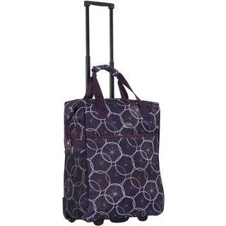 CalPak 'Big Eazy' Purple Wheels 20-inch Washable Rolling Shopping Tote Bag