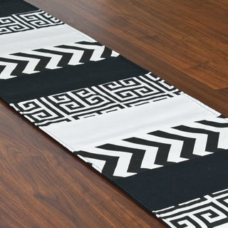 Zig Zag Black 12.5 x 71-inch Table Pieced Runner
