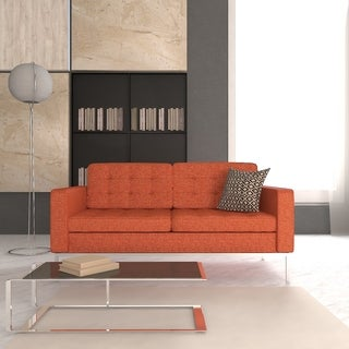 Somette Lorane Modern Orange Twill Wool Fabric Studio Sofa