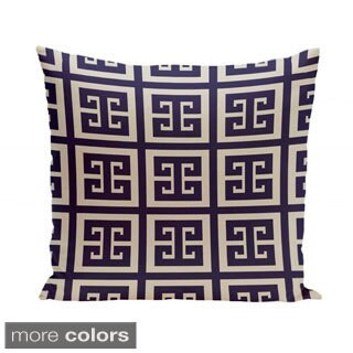16 x 16-inch Latte Greek Key Print Geometric Decorative Pillow