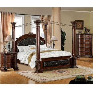 Furniture of America Luxury Brown Cherry 3-Piece Baroque Style Canopy Bedroom Set