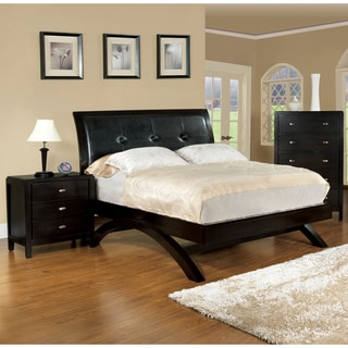 Furniture of America Espresso 2-Piece Leatherette Bed with Nightstand Set