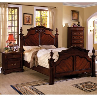 Furniture of America Westin Traditional 2-piece Dark Cherry Poster Bed with Nightstand Set