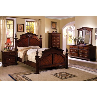 Furniture of America Westin Traditional 4-piece Dark Cherry Poster Bedroom Set