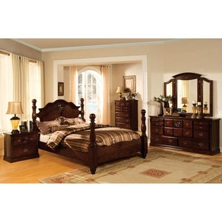 Furniture of America Weston Traditional 4-Piece Glossy Dark Pine Poster Bedroom Set