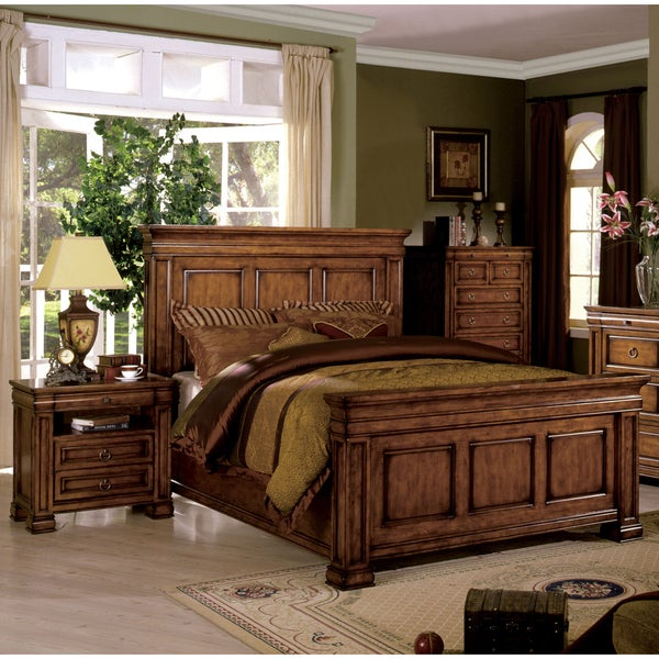 of America Claresse Traditional 3-piece Tobacco Oak Panel Bedroom Set ...