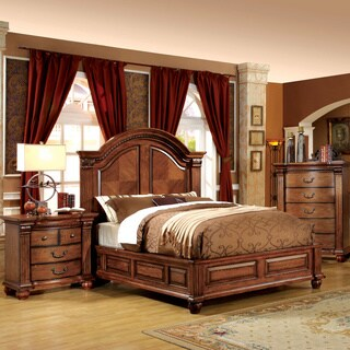 Furniture of America Hesperia Traditional Style 3-Piece Antique Tobacco Oak Bedroom Set