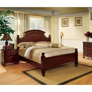 Furniture of America Alianess European Style 2-Piece Cherry Poster Bed with Nightstand Set