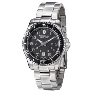 Swiss Army Men's 241436 'Maverick' Black Dial Stainless Steel GMT Watch