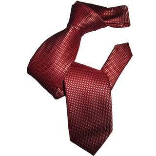 Dmitry Men's Classic Red Patterned Italian Silk Tie