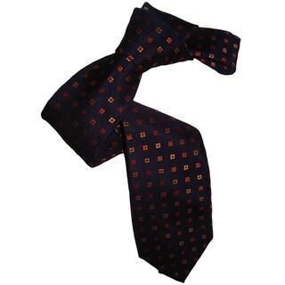 Dmitry Men's Navy and Patterned Italian Silk Tie