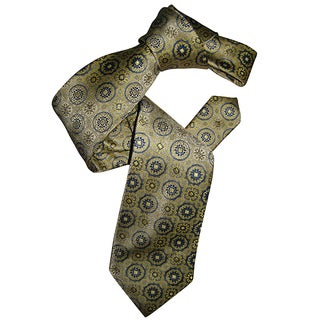 Dmitry Men's Light Yellow Patterned Italian Silk Tie