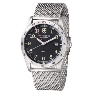 Swiss Army Men's 241649 'Infantry GMT' Black Dial Stainless Steel Quartz Watch