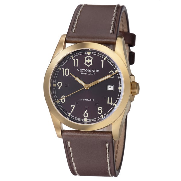 Swiss Army Men's 241646 'Infantry' Brown Dial Brown Leather Strap GMT Watch 13395227