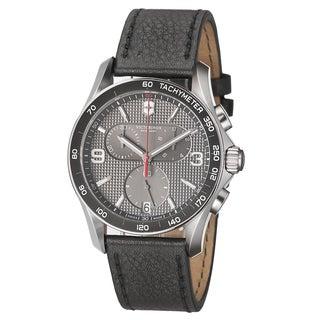 Swiss Army Men's 241657 'Chrono Classic' Grey Dial Black Leather Strap Quartz Watch