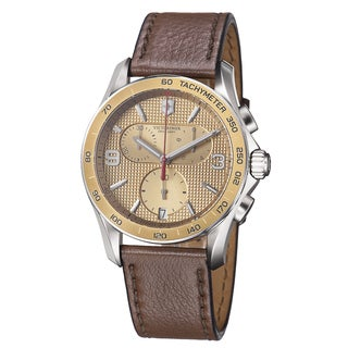 Swiss Army Men's 241659 'Chrono Classic' Goldtone Dial Brown Leather Strap Quartz Watch
