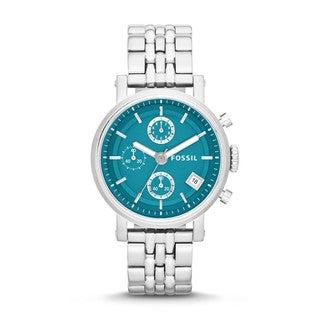 Fossil Women's ES3571 Boyfriend Turquoise Chrono Date Dial Silver Steel Watch