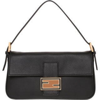 Fendi Black Leather Baguette with Interchangeable Straps