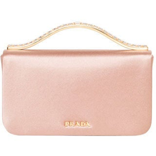 Prada Blush Satin Clutch with Rhinestone Handle