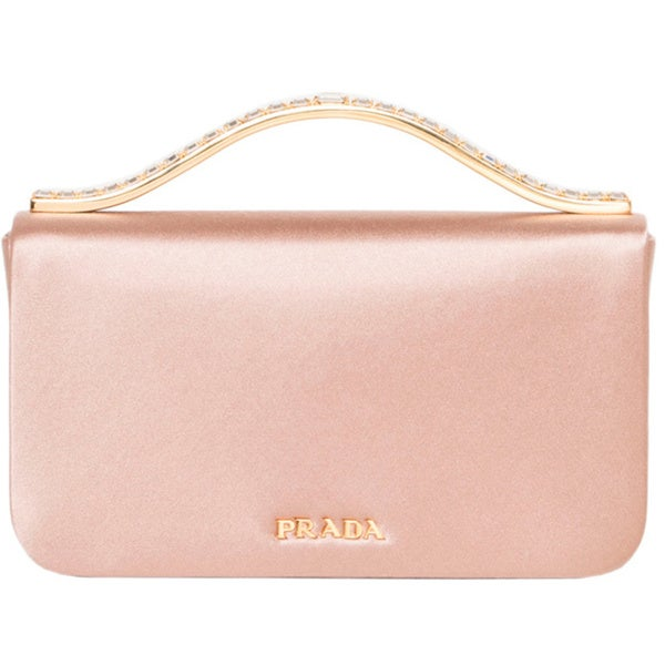 Prada Blush Satin Clutch with Rhinestone Handle - 16417498 ...