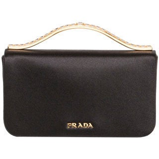 Prada Black Satin Clutch with Rhinestone Handle