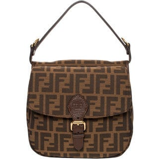 Fendi Brown Zucca Canvas Saddle Handbag