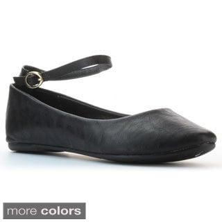 Kayleen Women's 'Alani-4' Ankle-strap Ballet Flats