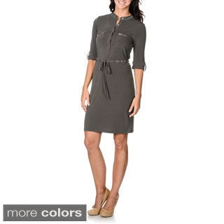 Lennie for Nina Leonard Womens Chain Belt Shirt Dress