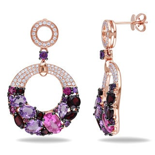 Miadora Signature Collection 14k Rose Gold Multi-gemstone and 5/8ct TDW Diamond Earrings (G-H, SI1-SI2)